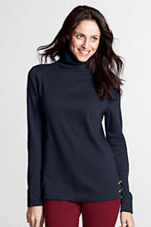 Women's Long Sleeve Wool Ponté Button Funnelneck