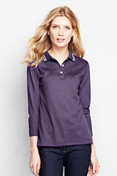 Women's 3/4-sleeve Tipped Pima Polo Shirt