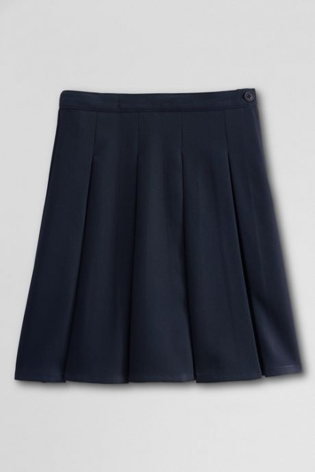 Juniors Solid Box Pleat Skirt Top of Knee