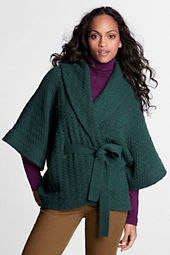 Women's 3/4-sleeve Lambswool Blend Wrap Jacket