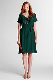Women's Solid Ruffle Front Georgette Dress