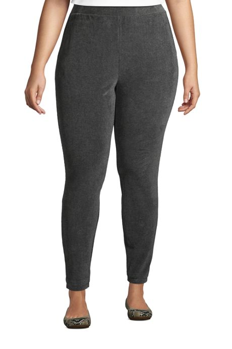 Women's Plus Size Sport Knit High Rise Corduroy Leggings