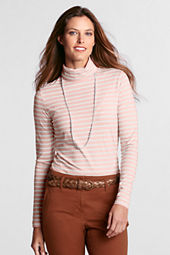 Women's Long Sleeve Stripe Lightweight Cotton Modal Turtleneck