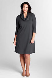 Women's Plus Size Ponté Cowlneck Dress