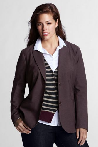 Women's Plus Size 2-button Blazer - Rich Burgundy Heather, 26W