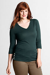 Women's Plus Size 3/4-sleeve Soft V-neck Side-shirring Top