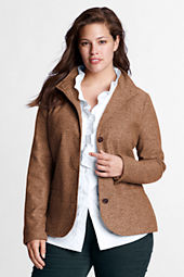 Women's Plus Size Wool Herringbone Jacket