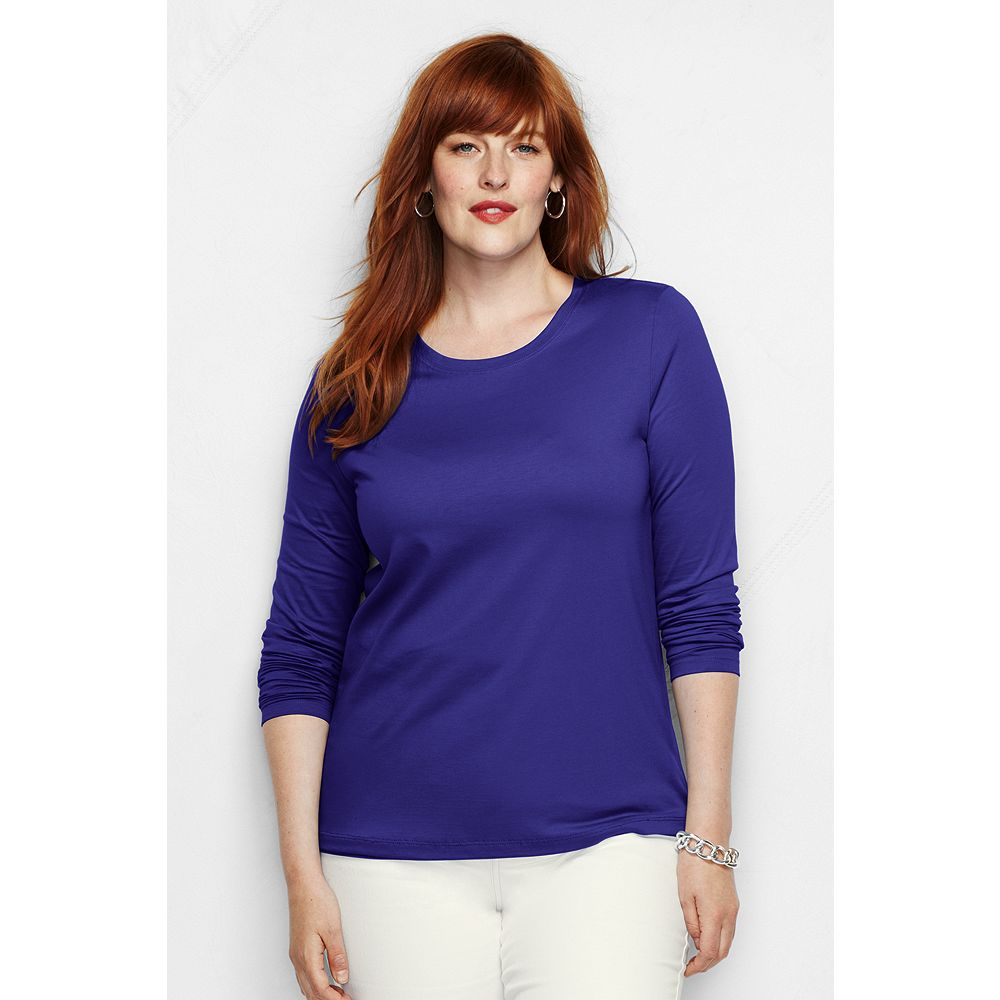 Lands' End Women's Plus Size Long Sleeve Relaxed Supima Crewneck T-shirt at Sears.com