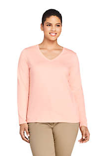 Women's Plus Size Relaxed Supima Cotton Long Sleeve V-Neck T-Shirt, Front