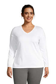 Women's Plus Size Relaxed Supima Cotton Long Sleeve V-Neck T-Shirt