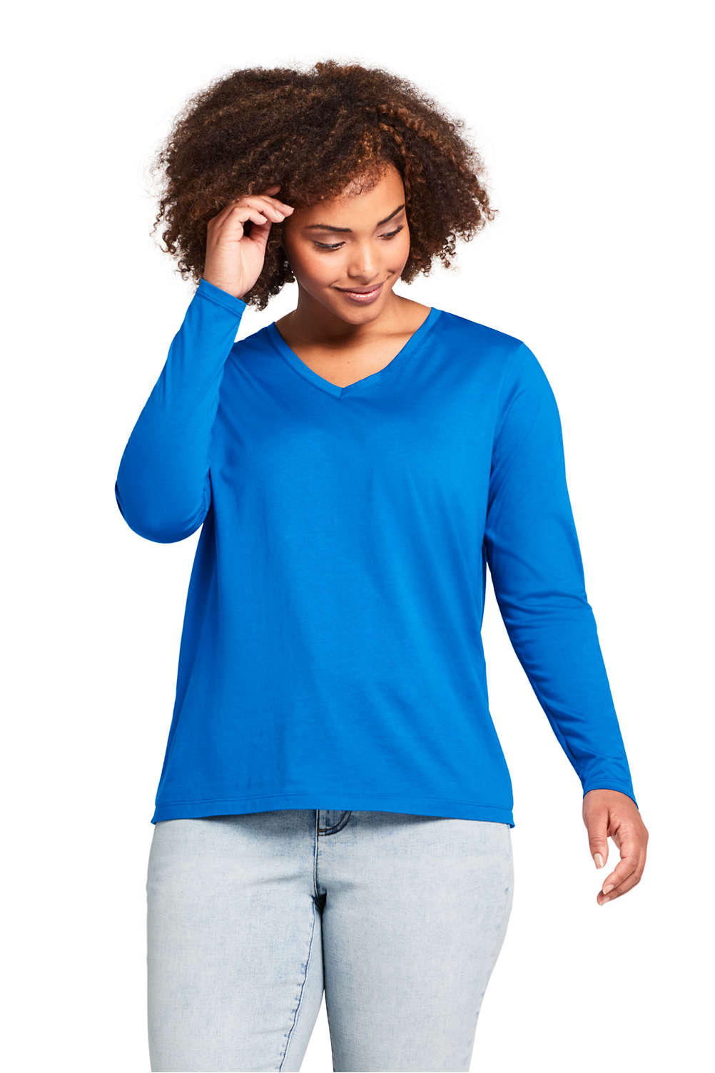 003d3b10913e Women's Plus Size Relaxed Fit Supima Cotton V-neck Long Sleeve T-shirt from  Lands' End