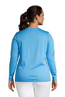 Women's Plus Size Relaxed Supima Cotton Long Sleeve V-Neck T-Shirt, Back