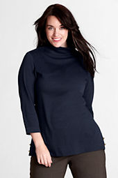 Women's Plus Size 3/4-sleeve Wool Ponté Funnelneck Top