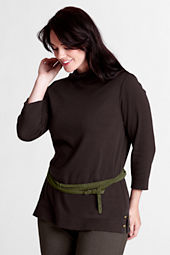 Women's Plus Size 3/4-sleeve Wool Ponté Portrait Neck Top