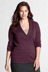 Women's Plus Size 3/4-sleeve Merino Shawl Pullover