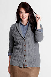 Women's Plus Size Long Sleeve Feel Better Cable Shawl Cardigan