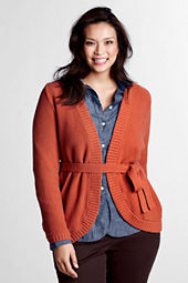 Women's Plus Size Long Sleeve Textured Tie Cardigan
