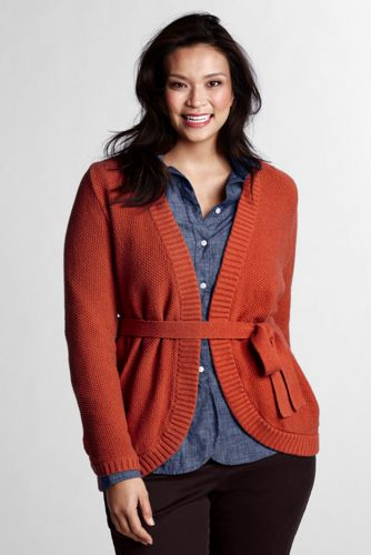 Women's Plus V-neck Tie Cardigan
