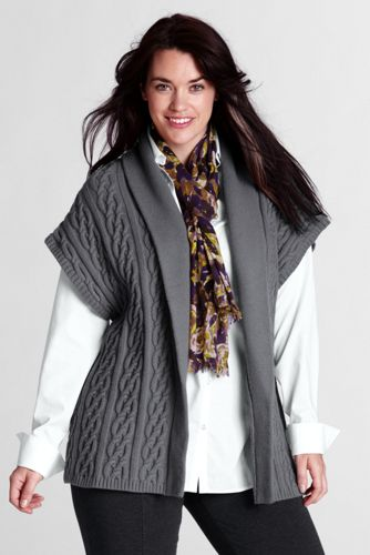Women's Plus Lambswool Blend Drop Sleeve Cardigan