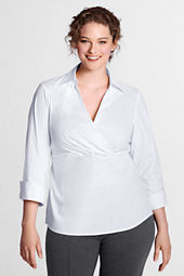 Women's Plus Size Stretch Faux Wrap Shirt
