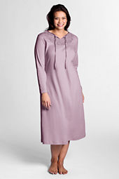 Women's Plus Size Long Sleeve Supima Lace Bib Nightgown