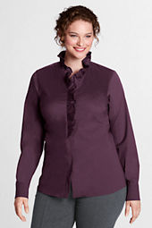 Women's Plus Size Long Sleeve Stretch Ruffle Shirt