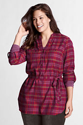 Women's Plus Size Roll Sleeve 2-pocket Flannel Tunic