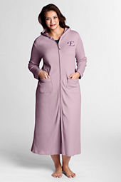 Women's Plus Size Supima Zip-front Robe