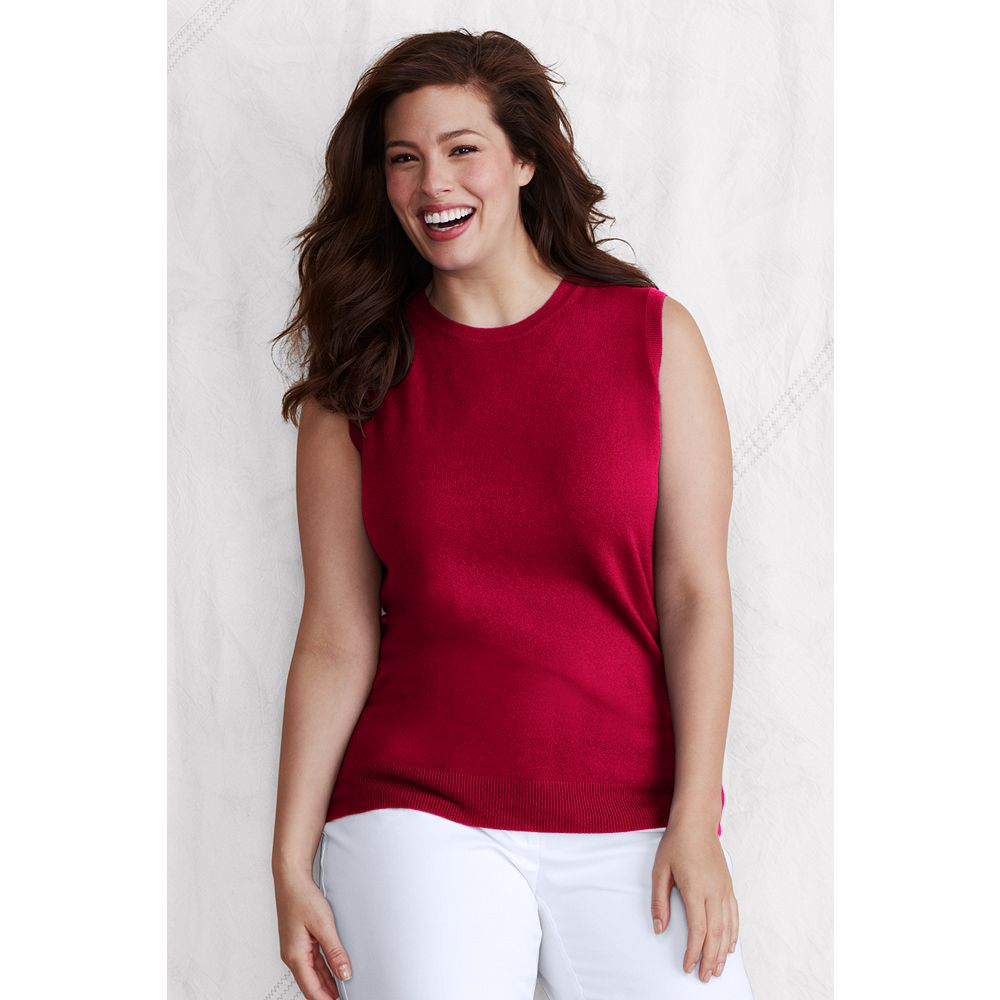 Lands' End Women's Plus Size Sleeveless Classic Cashmere Shell at Sears.com