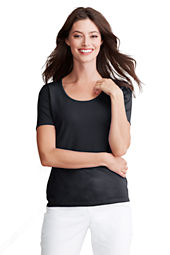 Women's Short Sleeve Rayon Nylon Scoop Shell