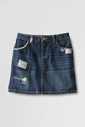 Little Girls' Denim Patchwork Skirt