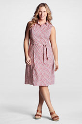 Women's Plus Size Sleeveless Pattern Poplin Dress