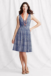 Women's Sleeveless Cotton Modal Pattern Fit and Flare Dress