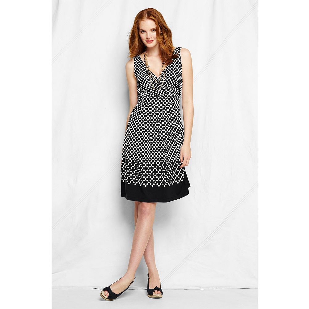 Lands' End Women's Tall Sleeveless Pattern Cotton Modal Fit and Flare Dress at Sears.com