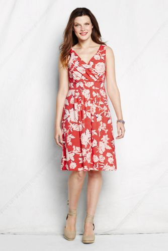 Women's Regular Sleeveless Pattern Cotton Modal Fit and Flare Dress - Coral Bliss Floral, L
