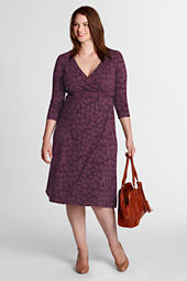 Women's Plus Size Leaf Pattern Crepe Jersey Dress