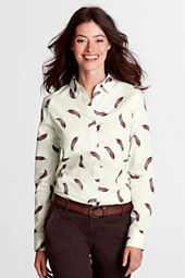 Women's Long Sleeve Pattern No Iron Hidden Placket Shirt