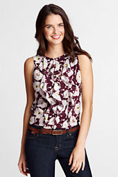 Women's Sleeveless Silk Ruffle Front Blouse