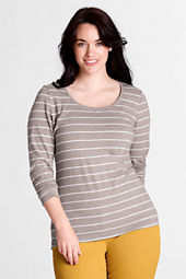 Women's Long Sleeve Lightweight Cotton Modal Stripe Scoop Top