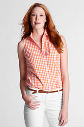 Women's Sleeveless Pattern Buttondown Shell