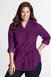 Women's Plus Size Roll Sleeve 2-pocket Corduroy Tunic