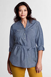 Women's Plus Size Roll Sleeve 2-pocket Chambray Tunic