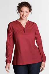 Women's Plus Size Ruffled Henley Shirt
