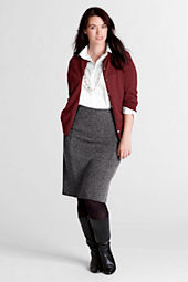 Women's Plus Size Tweedy Ponté Knit Panel Herringbone Skirt