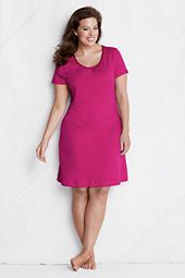 Women's Plus Plain Knee-length Sleep-T