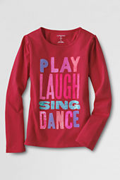 Little Girls' Long Sleeve Laugh Graphic T-shirt