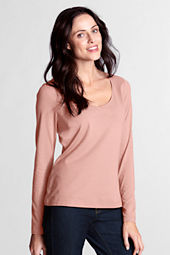 Women's Long Sleeve Fitted Lightweight Cotton Modal V-neck T-shirt