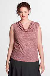 Women's Plus Size Pattern Drapey Neck Shell