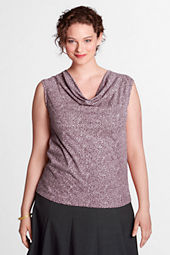 Women's Plus Size Petite Pattern Drapey Neck Shell