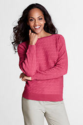 Women's Supima Cotton Cable Wide Crewneck Sweater